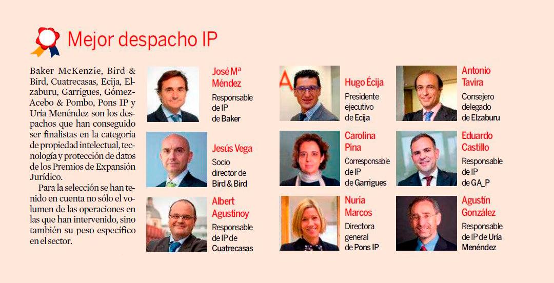 PONS IP, finalista de los III Premios Expansión Jurídico